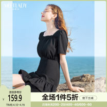 Dress Summer 2021 black S M L XL Short skirt singleton  Short sleeve commute square neck High waist Solid color zipper other routine Others 18-24 years old Type A Meetlady / milada Simplicity BLQ072 51% (inclusive) - 70% (inclusive) other polyester fiber Polyester 62.8% viscose 37.2%