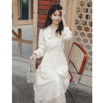 Dress Spring 2021 Beige tie, beige shirt S,M,L,XL Mid length dress singleton  Long sleeves commute V-neck High waist Solid color Socket A-line skirt routine Others Type A Other / other literature