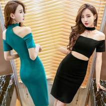 Dress Spring of 2019 S,M,L Middle-skirt singleton  Short sleeve commute One word collar middle-waisted Solid color zipper One pace skirt other Others Type A