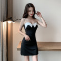 Dress Summer 2021 black S,M,L,XL Short skirt singleton  Sleeveless commute One word collar High waist Solid color zipper Pencil skirt camisole 25-29 years old Type X Stitching, backless