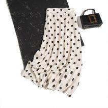 skirt Spring 2021 S,M,L,XL Apricot black spot Mid length dress commute Natural waist Type H F0159 More than 95% Pu Xu silk zipper Retro