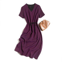 Dress Spring 2021 Purple V-neck 160/84B(M),165/88B(L),170/92B(XL) Mid length dress singleton  Short sleeve commute V-neck Loose waist Socket routine Type A Pu Xu Retro Frenulum A0560 More than 95% silk
