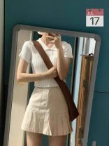 Women's large Summer 2021 Top, skirt, top + skirt S,M,L,XL Dress Two piece set commute Self cultivation thin Short sleeve Decor V-neck routine routine ALX589176 18-24 years old Short skirt other