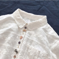 shirt Average size Autumn of 2019 cotton 96% and above Long sleeves commute Regular Polo collar Single row multi button routine Solid color literature Embroidery, buttons