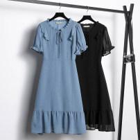 Women's large Summer 2021 Black dress blue dress Large L (100-130 kg) Large XL (131-145 kg) large XXL (146-155 kg) large 3XL (156-170 kg) large 4XL (171-185 kg) large 5XL (186-200 kg) Dress singleton  commute Short sleeve Korean version Three dimensional cutting SWE68015A82 Badimei 25-29 years old