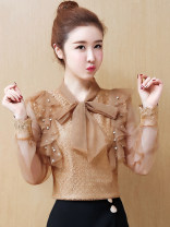 Lace / Chiffon Summer of 2019 Coffee long sleeves, white long sleeves, black [skirt] S,M,L,XL,2XL Short sleeve commute Socket singleton  Straight cylinder have cash less than that is registered in the accounts V-neck Solid color routine Bows, tassels, stitches, beads, mesh, lace Korean version