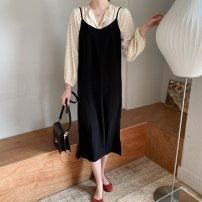 Dress Spring 2021 Black summer , Black spring and Autumn S,M,L,XL,2XL longuette singleton  Long sleeves commute V-neck Loose waist Solid color Socket other routine camisole 18-24 years old Type H MRCATCM TBD210101 91% (inclusive) - 95% (inclusive) polyester fiber