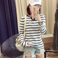 T-shirt White, black M,L,XL,2XL Spring of 2018 Long sleeves V-neck Self cultivation Regular routine Sweet polyester fiber 86% (inclusive) -95% (inclusive) 18-24 years old youth Thick horizontal stripe Asymmetry college