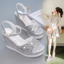 Sandals 34 35 36 37 38 39 40 Silver one size smaller, gold one size smaller, black standard, wine red standard, white standard Other / other PU Fish mouth Slope heel Super high heel (over 8cm) Summer 2017 Flat buckle Korean version Solid color Adhesive shoes Youth (18-40 years old) polyurethane daily