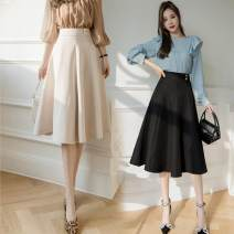 skirt Spring 2021 S,M,L,XL Apricot, black, sling Mid length dress Versatile High waist A-line skirt Solid color Type A 25-29 years old 71% (inclusive) - 80% (inclusive) other