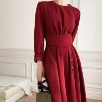Dress Spring 2021 Red, black S 90-110kg, m 111-125kg longuette singleton  Long sleeves commute Crew neck High waist Solid color Socket A-line skirt routine Others 30-34 years old Type X Splicing 104 waist dress 71% (inclusive) - 80% (inclusive) other other