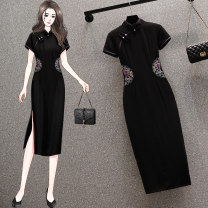 cheongsam Summer 2021 S (within 90 kg recommended), m (91-100 kg recommended), l (101-110 kg recommended), XL (111-120 kg recommended), 2XL (121-130 kg recommended) Black (045), black (038), black (028), green (027), green (016), yellow (016) Short sleeve long cheongsam Simplicity Low slit daily