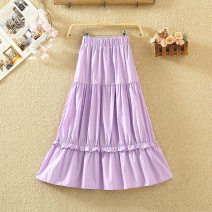 skirt Summer 2020 Average size White, black, apricot, purple, light green, skin pink Mid length dress commute High waist A-line skirt Solid color Type A 8153# Fungus, splicing Korean version