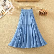 skirt Summer 2020 Average size White, black, apricot, blue, light blue, khaki, pink Mid length dress commute High waist A-line skirt Solid color Type A 8105# cotton Fold, splice Korean version