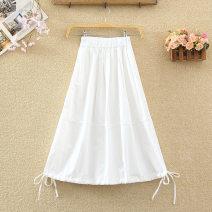 skirt Spring 2021 Average size White, black, apricot, khaki Mid length dress commute High waist Lantern skirt Solid color Type A 8232# cotton Pleating Korean version