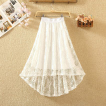 skirt Summer 2020 Average size White, black, gray, blue Mid length dress commute High waist Irregular Solid color Type A 8103# Lace Hollowed out, Gouhua hollowed out, asymmetric, lace Korean version