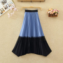 skirt Winter 2020 Average size Apricot, black, green, yellow, blue, pink Mid length dress commute High waist Irregular Solid color Type A 8242# Stitching, lace Korean version