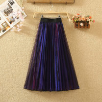 skirt Summer 2020 Average size Silver Red, blue green, blue purple Mid length dress commute High waist Pleated skirt Solid color Type A 8037# Pleat, web Korean version