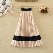 skirt Autumn 2020 Average size Apricot with black, gray with apricot, black with apricot, pink with black, black with pink, yellow with black, khaki with black Mid length dress commute High waist Pleated skirt Solid color Type A 8191# Fold, splice Korean version