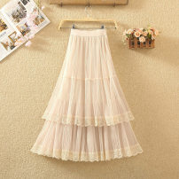 skirt Spring 2020 Average size White, black, gray, apricot Mid length dress commute High waist Cake skirt Solid color Type A 8015# Pleats, gauze, stitching, lace Korean version