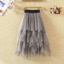 skirt Spring 2020 One size fits all (elastic waist) White, black, dark grey, green, light grey, pink Mid length dress commute High waist Irregular Solid color Type A 9138# Asymmetry, web Korean version
