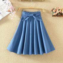 skirt Summer 2020 Length 40 [elastic waist], length 63 [elastic waist] Light blue, dark blue Mid length dress commute High waist A-line skirt Solid color Type A 9080# 71% (inclusive) - 80% (inclusive) Denim cotton Bow tie Korean version