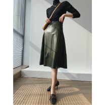 skirt Winter 2020 XS,S,M,L Pine needle green Mid length dress commute High waist A-line skirt Solid color Type A 25-29 years old W488 51% (inclusive) - 70% (inclusive) other PU Splicing Simplicity