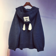 sweater Spring 2021 Average size Dark blue, black, pink, gray, light blue, ginger Long sleeves Cardigan singleton  Medium length other 95% and above other Regular routine Cartoon animation Straight cylinder Regular wool Keep warm and warm 18-24 years old pocket