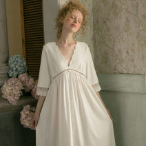 Nightdress Chelnlseey / Chen Xi White, pink 155(S),165(L),160(M) sexy Middle sleeve pajamas longuette spring Solid color youth V-neck cotton Mosaic decoration 81% (inclusive) - 95% (inclusive) Knitted cotton fabric 200g and below