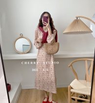 Dress Spring 2021 Blue, green, pink Average size Short skirt singleton  Long sleeves commute Crew neck High waist Decor Socket A-line skirt bishop sleeve Breast wrapping 18-24 years old Type A Korean version three - eight - fourteen 91% (inclusive) - 95% (inclusive) Chiffon