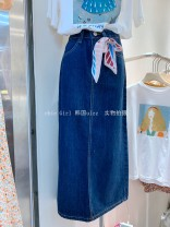 skirt Spring 2021 S,M,L blue longuette commute High waist A-line skirt Solid color Type H 18-24 years old 3-2-12 Denim Korean version