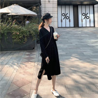 Dress Autumn of 2019 black Average size Mid length dress singleton  Long sleeves street Others JIANO FOREVER LS 8-6636 Europe and America