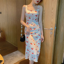 Dress Summer 2021 Apricot S M L Mid length dress singleton  Sleeveless commute square neck High waist other zipper A-line skirt other camisole 25-29 years old Type A Korean Lin space Korean version Diamond zipper 12TL31506 More than 95% other other Other 100% Pure e-commerce (online only)