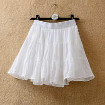 skirt Summer 2021 Average size Violet, black, cream Short skirt commute High waist Cake skirt Solid color Type A 18-24 years old 71% (inclusive) - 80% (inclusive) other polyester fiber Ruffles, folds, stitches Korean version