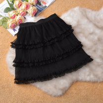 skirt Spring of 2019 Average size Black, apricot, white Short skirt commute High waist Cake skirt Solid color Type A 25-29 years old 51% (inclusive) - 70% (inclusive) other other Mesh, stitching, lace