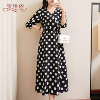 Women's large Summer of 2019 Black dots white dots black leaves white leaves red leaves L XL XXL 3XL 4XL 5XL Dress singleton  commute easy moderate Socket elbow sleeve Dot Korean version V-neck Medium length Three dimensional cutting Baoluoyi 30-34 years old longuette other