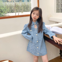 Dress Denim blue female Other / other 100cm,110cm,120cm,130cm,140cm Other 100% spring and autumn Korean version Long sleeves Solid color Denim A-line skirt Class B Three, four, five, six, seven, eight, nine, ten, eleven Chinese Mainland Zhejiang Province Huzhou City