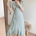 Dress Spring 2021 Floral Dress S,M,L,XL longuette singleton  Short sleeve commute V-neck High waist Broken flowers Socket A-line skirt routine Others 18-24 years old Type A Korean version 51% (inclusive) - 70% (inclusive) Chiffon polyester fiber
