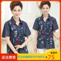 Middle aged and old women's wear Summer 2020 Cowboy flower XL [suitable for 95-110 kg], 2XL [suitable for 110-125 kg], 3XL [suitable for 125-140 kg], 4XL [suitable for 140-155 kg] leisure time shirt easy singleton  Decor 40-49 years old Cardigan moderate Polo collar routine routine Button
