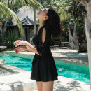 one piece  Other / other M,L,XL,XXL Black (swimming cap for free) Skirt one piece Steel strap breast pad J02019 female Middle sleeve Casual swimsuit