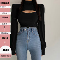 T-shirt black S,M,L Autumn 2020 Long sleeves High collar Self cultivation have cash less than that is registered in the accounts routine street cotton 86% (inclusive) -95% (inclusive) 18-24 years old originality Solid color EUT9121W0K Hollowing out Europe and America
