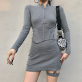 Dress Autumn 2020 Gray, black S,M,L Short skirt singleton  Long sleeves street stand collar High waist Solid color zipper One pace skirt routine Others 18-24 years old Type H Zipper, resin fixation EUD6974V0I 51% (inclusive) - 70% (inclusive) polyester fiber Europe and America