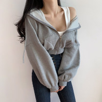 Sweater / sweater Autumn 2020 Grey, black, yellow S,M,L Long sleeves have cash less than that is registered in the accounts Cardigan singleton  Plush Hood easy street routine Solid color 18-24 years old 71% (inclusive) - 80% (inclusive) EUC7657W0I zipper cotton Intradermal bile duct zipper