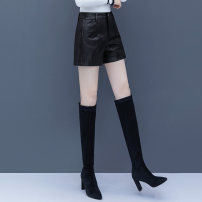 Casual pants Black, lucky bag S,M,L,XL,2XL,3XL Autumn 2020 shorts Wide leg pants High waist commute routine QM - Wei Qi 98320-2 QMGA polyester fiber pocket Asymmetry