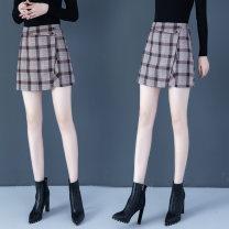 skirt Autumn 2020 S,M,L,XL,2XL Grey, brown, lucky bag Short skirt commute High waist A-line skirt lattice 25-29 years old QM - Wei Qi 375-1 91% (inclusive) - 95% (inclusive) Wool polyester fiber zipper
