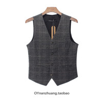 Vest / vest Fashion City Others go to work Self cultivation Vest routine Four seasons No collar youth 2017 Business Casual Single breasted Slant hem cotton No iron treatment nothing Woollen cloth Bag digging with open cut thread 70% (inclusive) - 79% (inclusive)