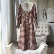 Dress Summer 2020 Check, check less 1 button S,M,L E553
