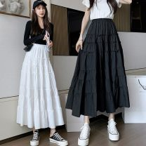 skirt Spring 2021 S,M,L,XL White, black commute High waist A-line skirt Solid color Type A 18-24 years old w299 51% (inclusive) - 70% (inclusive) other Other / other other fold Korean version