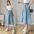 skirt Summer 2021 S. M, l, XL, quantity finite element method Picture color, collection, baby priority delivery Mid length dress Versatile High waist A-line skirt Solid color Type A 18-24 years old NZLYG-8975 81% (inclusive) - 90% (inclusive) Denim cotton