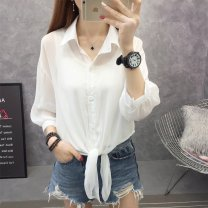 Lace / Chiffon Summer of 2019 Black, white, light green, [trumpet sleeve black], [trumpet sleeve white], pink purple S,M,L,XL Long sleeves commute Cardigan singleton  easy have cash less than that is registered in the accounts square neck Solid color routine 25-29 years old Other / other R27732